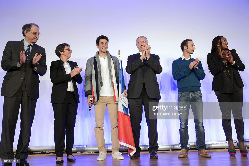 President of the French Olympic Committee (CNOSF) Denis Masseglia, French Sports Minister Valerie Fourneyron, French skier Jason Lamy Chappuis, Luc Tardif, head of the French delegation for the 2014 Winter Olympics, French biathlete Vincent Defrasne and French fencer Laura Flessel-Colovic attend a press conference in Paris on October 14, 2013. Lamy Chappuis, Olympic champion in Nordic combined ski events, was chosen as his country's flag bearer at the 2014 Winter Olympics in Sochi.