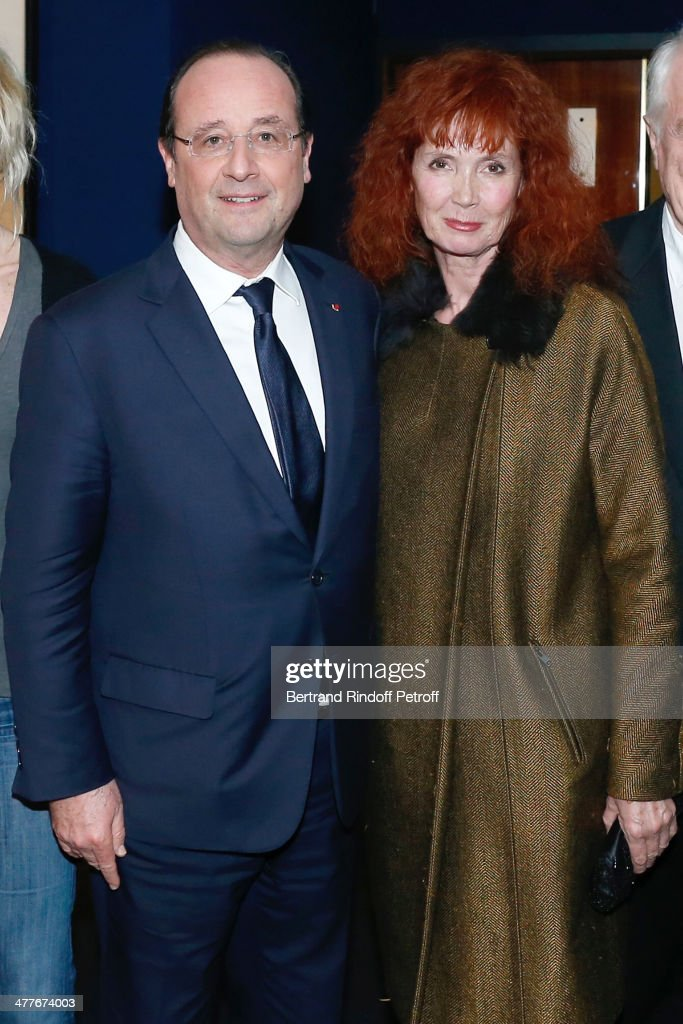 President of the French Republic Francois Hollande and actress Sabine Azema attend the 'Aimer, Boire Et Chanter' Paris movie premiere. Held at Cinema UGC Normandie on March 10, 2014 in Paris, France.