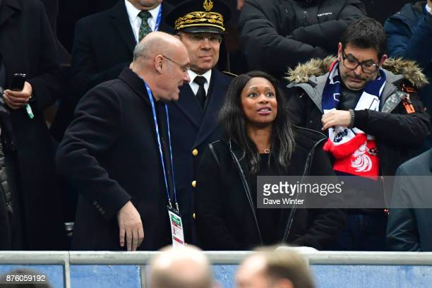 President of the French Rugby Federation Bernard Laporte and French sports minister Laura Flessel during the test match between France and South...