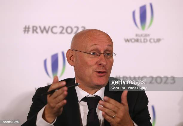 President of the French Rugby Federation Bernard Laporte during the Rugby World Cup 2023 Bid Presentations event at Royal Garden Hotel on September...