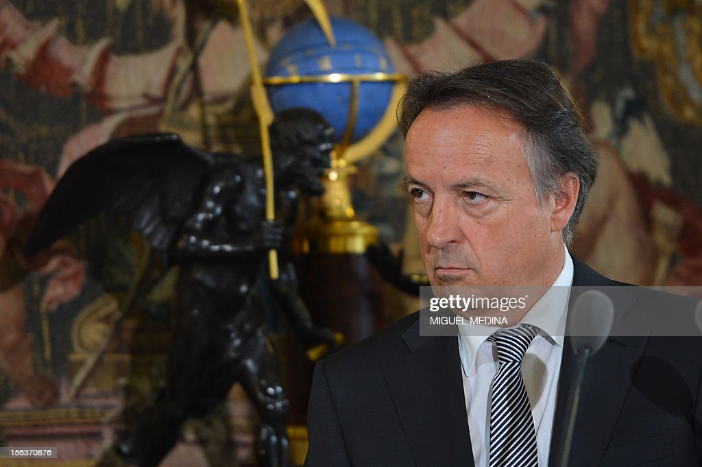President of the French Senate Jean-Pierre Bel delivers a speech, on November 14, 2012 at the Senate in Paris, during the presentation of proposals to simplify elected representatives standards and statutes.