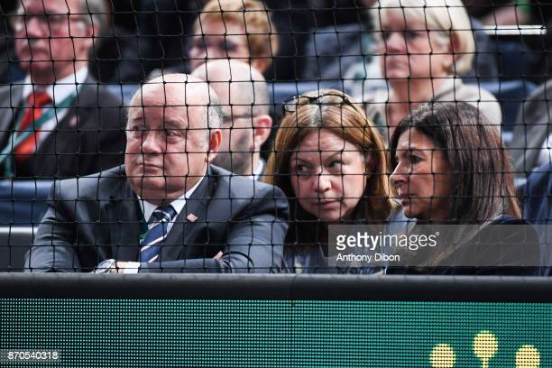 President of the French Tennis Federation Bernard Giudicelli and Mayor of Paris Anne Hidalgo during the Final of the Rolex Paris Masters at...