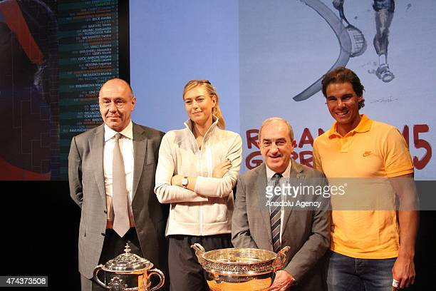 President of the French Tennis Federation Jean Gachassin Russian tennis player Maria Sharapova and Spanish tennis player Rafael Nadal seen during the...