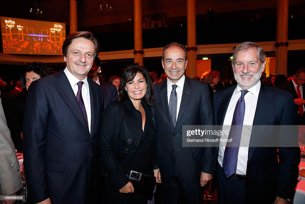 President of the French-American Foundation Jean Luc Allavena, Nadia Cope, Jean Francois Cope and Allan M. Chapin attends the French-American Foundation Gala Dinner at Salle Wagram on November 7, 2014 in Paris, France.