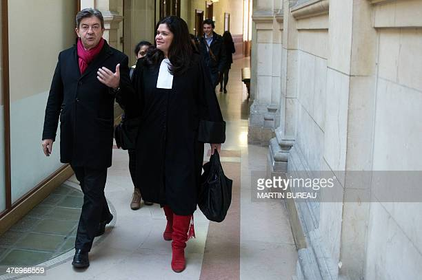 President of the Front de Gauche leftwing party JeanLuc Melenchon and his lawyer Raquel Garrido arrive at the 17th chamber of the Paris courthouse on...