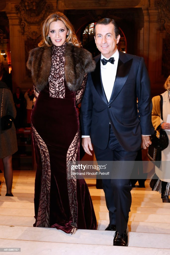President of the Gala Ulla Parker and Cyril Karaoglan attend Arop Charity Gala with 'Ballet du Theatre Bolchoi' held at Opera Garnier on January 9, 2014 in Paris, France.