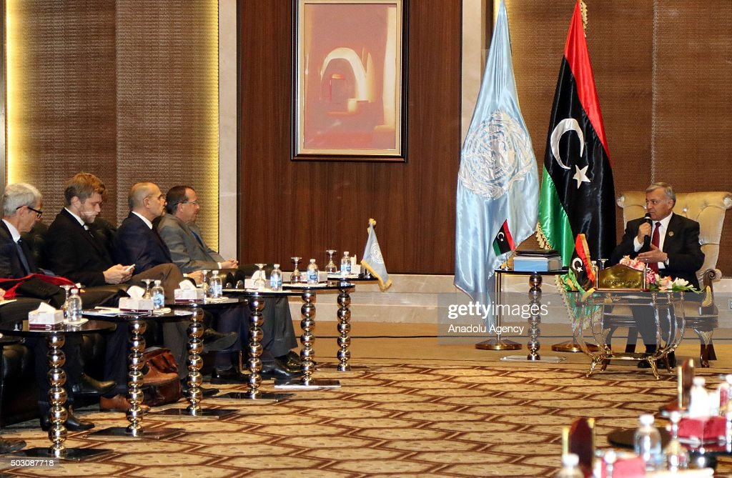 President of the General National Congress Nuri Abusahmin speaks in a meeting with United Nations envoy to Libya Martin Kobler at the National...