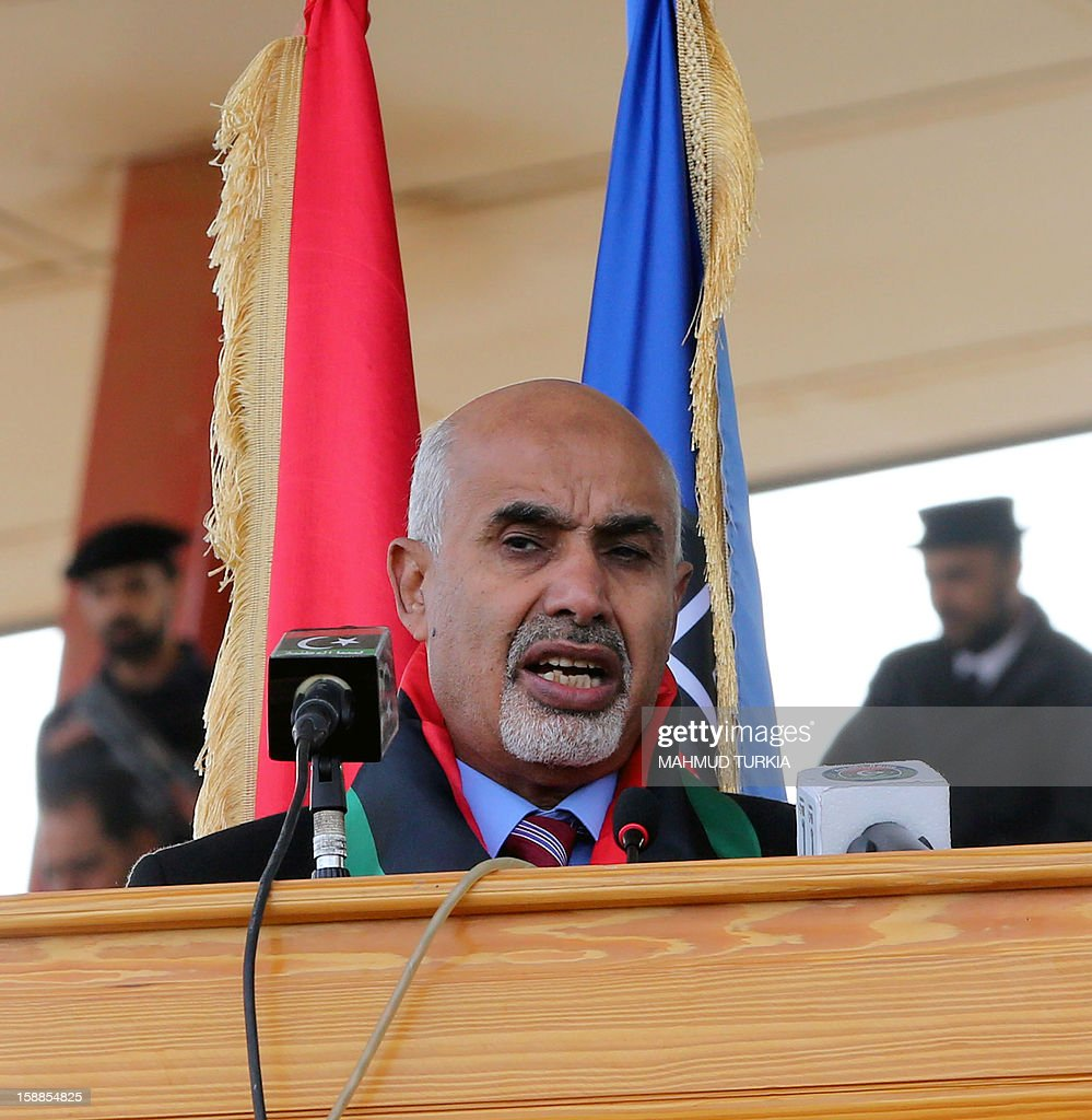 President of the General National Congress of Libya Mohammed Megaryef delivers a speech during a police graduation ceremony at a police academy in the district of Salaheddin in Tripoli on January 1, 2013.