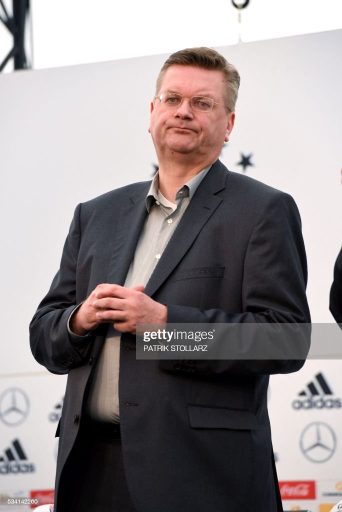 President of the German Football Federation Reinhard Grindel attends a press conference on the sideline of the team's preparation for the upcoming Euro 2016 European football championships, on May 25, 2016 in Ascona. STOLLARZ