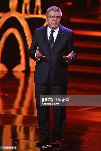 President of the German Olympic Sports Confederation Thomas Bach is seen on stage during the Bambi Awards 2015 show at Stage Theater on November 12...