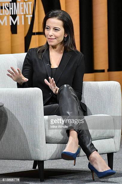 President of the Goldman Sachs Foundation Dina Powell speaks onstage during 'The Next Wave of Philanthropy' at the Vanity Fair New Establishment...