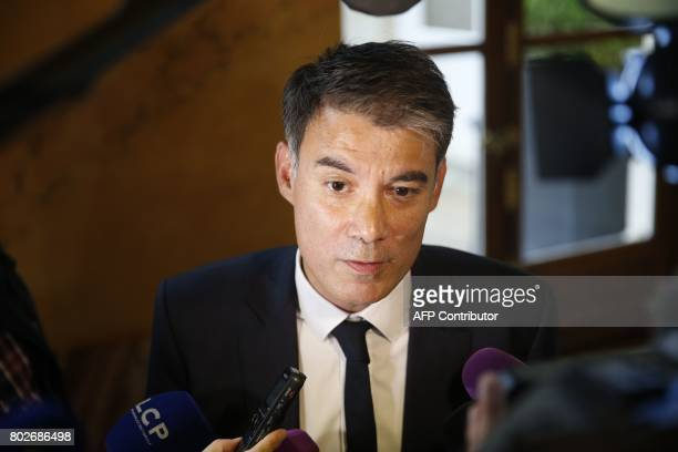President of the group 'nouvelle gauche' at the parliament MP Olivier Faure speaks to journalists on June 28 2017 at the National Assembly in Paris...