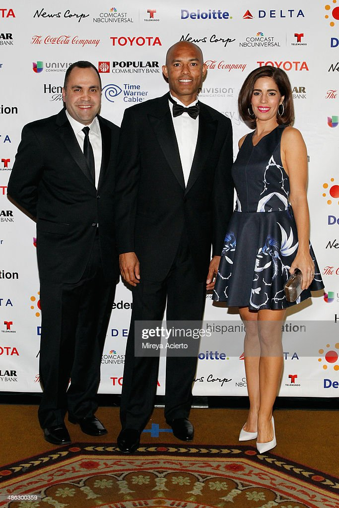 President of the Hispanic Federation, <a gi-track='captionPersonalityLinkClicked' href=/galleries/search?phrase=Jose+Calderon&family=editorial&specificpeople=548297 ng-click='$event.stopPropagation()'>Jose Calderon</a>, Former New York Yankee <a gi-track='captionPersonalityLinkClicked' href=/galleries/search?phrase=Mariano+Rivera&family=editorial&specificpeople=201607 ng-click='$event.stopPropagation()'>Mariano Rivera</a> and actress <a gi-track='captionPersonalityLinkClicked' href=/galleries/search?phrase=Ana+Ortiz+-+Actress&family=editorial&specificpeople=12934861 ng-click='$event.stopPropagation()'>Ana Ortiz</a> attend The Hispanic Federation Gala co-hosted by Mario Lopez at the Waldorf=Astoria on April 23, 2014 in New York City.