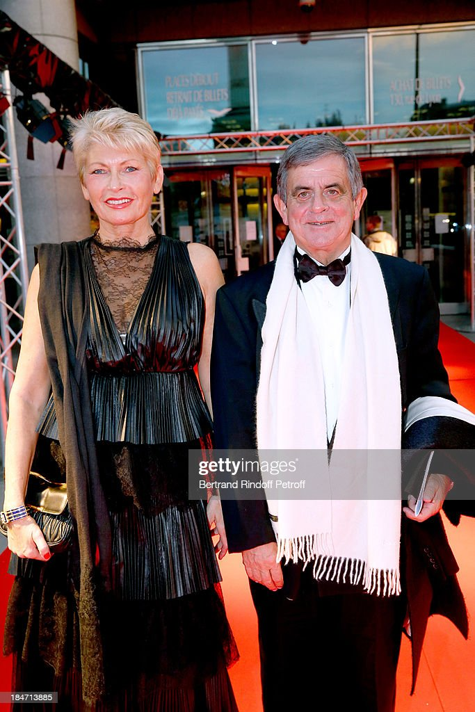 President of the Honorary Committee Miss Jean-Francois Theodore and her husband Jean-Francois Theodore attend AROP Gala at Opera Bastille with a representation of 'Aida' on October 15, 2013 in Paris, France.