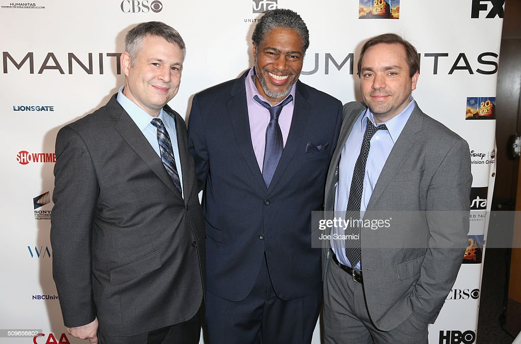 President of the Humanitas Awards Ali LeRoi (center), and finalists for 'Gortimer Gibbon's Life on Normal Street' Brian Turner (L) and Garrett Frawley attend the 41st Humanitas Prize Awards Ceremony at Directors Guild Of America on February 11, 2016 in Los Angeles, California.