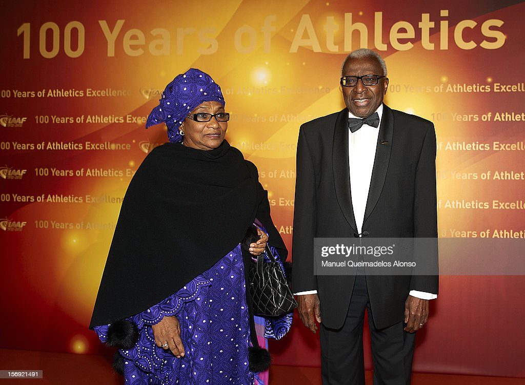 President of the IAAF <a gi-track='captionPersonalityLinkClicked' href=/galleries/search?phrase=Lamine+Diack&family=editorial&specificpeople=636938 ng-click='$event.stopPropagation()'>Lamine Diack</a> and his wife Bintou Diack attend the IAAF Centenary Gala at the Museo Nacional d'Art de Catalunya on November 24, 2012 in Barcelona, Spain.