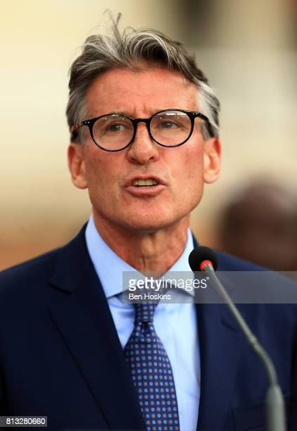 President of the IAAF Lord Sebastian Coe speaks during the opening ceremony on day one of the IAAF U18 World Championships at the Kasarani Stadium on...