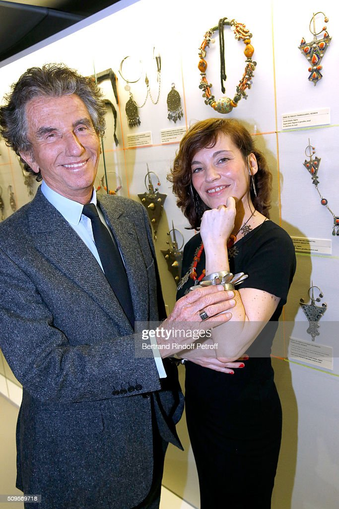 President of the 'Institut du Monde Arabe' Jack Lang and Actress Elodie Mennegand, wearing jewelry of the collection, attend the Opening of the Exhibition 'Tresors à porter', Treasures to wear, presented in the Museum of the 'Institut du Monde Arabe' on February 11, 2016 in Paris, France.