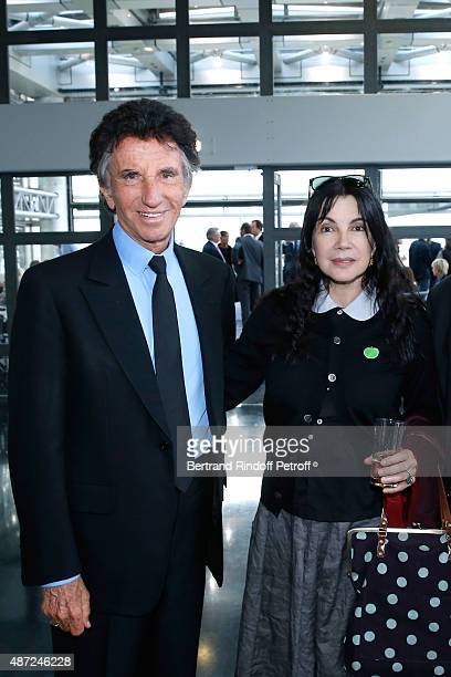 President of the 'Institut du Monde Arabe' Jack Lang and Carole Laure attend the Inauguration of the 'Osiris Mysteres Engloutis d'Egypte' at Institut...