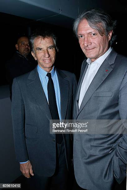 President of the 'Institut du Monde Arabe' Jack Lang and Mayor of Deauville Philippe Augier attend the 'Aventuriers des Mers De Sindbad a Marco Polo...