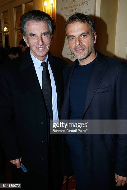 President of the 'Institut du Monde Arabe' Jack Lang and Stage director of the Piece Steve Suissa attend the 'A Droite A Gauche' Theater Play at...