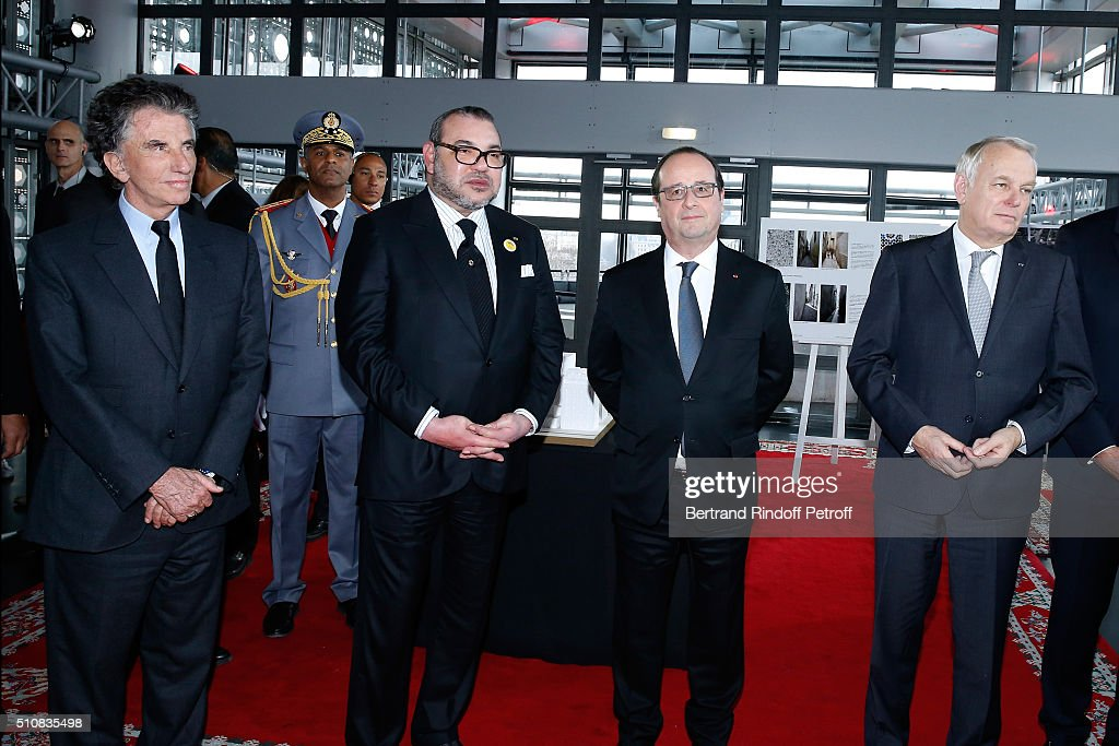 President of the 'Institut du Monde Arabe' Jack Lang, King Mohammed VI of Morocco, French President Francois Hollande and Minister of Foreign Affairs Jean-Marc Ayrault attend King Mohammed VI of Morocco and French President Francois Hollande present the project to create a Cultural Center of Morocco in 'Saint-Germain des Pres'. Held at Institut du Monde Arabe on February 17, 2016 in Paris, France.