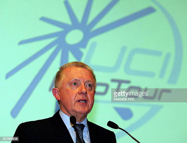President of the International Cycling Union Hein Verbruggen presents the Pro Tour 05 March 2003 in Paris prior to the 63th Paris/Nice race first leg...