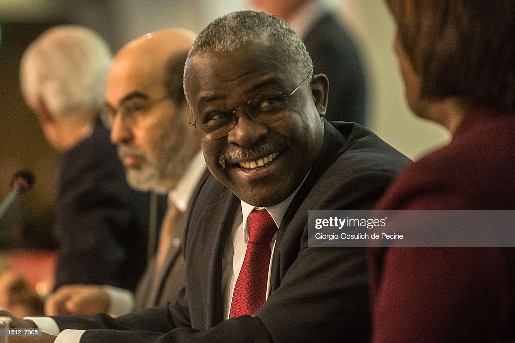 President of the International Fund for Agricultural Development (IFAD) Kanayo F. Nwanze smiles as he attends the World Food Day international conference at the Food and Agriculture Organization (FAO) headquarters on October 16, 2012 in Rome, Italy. The theme of World Food Day 2012 is agricultural cooperatives. The official World Food Day theme is announced each spring by the Food and Agriculture Organization of the United Nations and aims to increase awareness and understanding of ways to end hunger in the world.