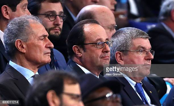 President of the International Handball Federation Hassan Moustafa French President Francois Hollande and President of the International Olympic...