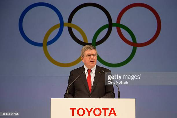 President of the International Olympic Committee Thomas Bach speaks to the media during a news conference at the Imperial Hotel on March 13 2015 in...