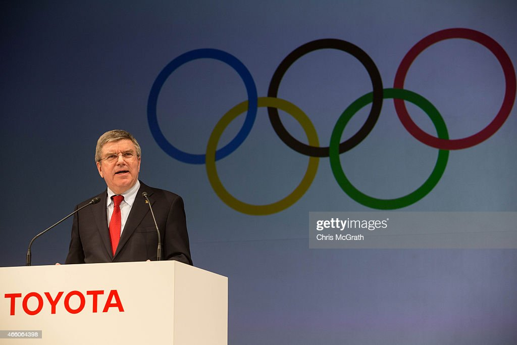 President of the International Olympic Committee <a gi-track='captionPersonalityLinkClicked' href=/galleries/search?phrase=Thomas+Bach&family=editorial&specificpeople=610149 ng-click='$event.stopPropagation()'>Thomas Bach</a> speaks to the media during a news conference at the Imperial Hotel on March 13, 2015 in Tokyo, Japan. Toyota Motor Co. signed with IOC to join The Olympic Partner Programme (TOP).