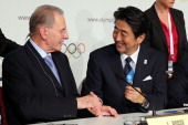 President of the IOC Jacques Rogge and Prime Minister of Japan Shinzo Abe sign the host city contract after Tokyo is awarded the 2020 Summer Olympic...