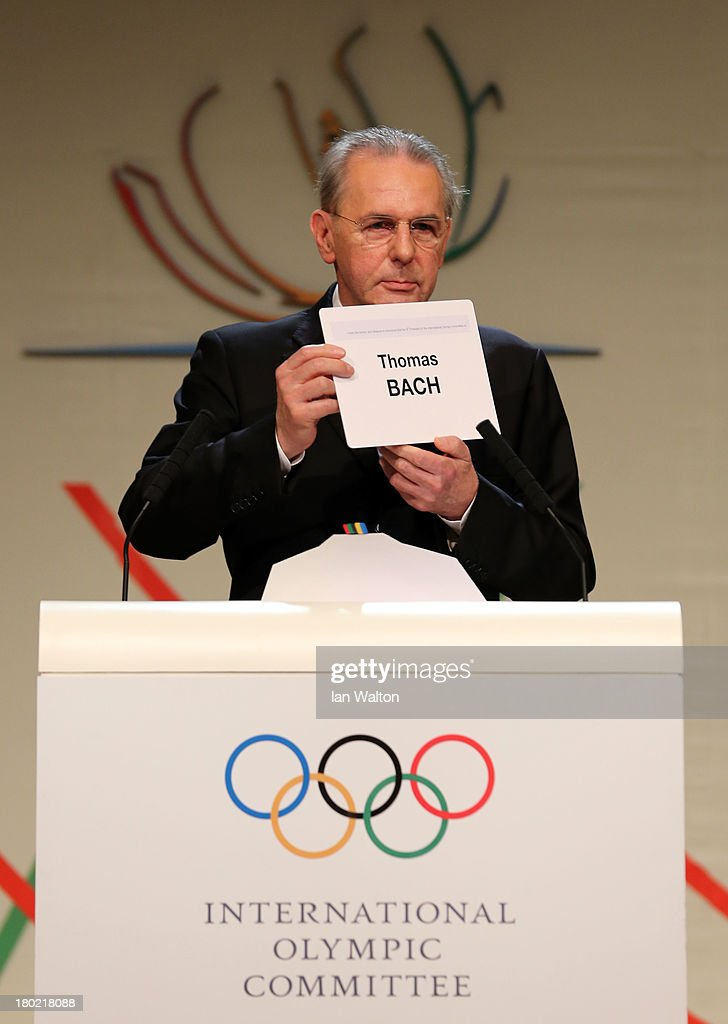 President of the IOC <a gi-track='captionPersonalityLinkClicked' href=/galleries/search?phrase=Jacques+Rogge&family=editorial&specificpeople=206143 ng-click='$event.stopPropagation()'>Jacques Rogge</a> announces Thomas Bach as the ninth IOC President during the 125th IOC Session - IOC Presidential Election at the Hilton Hotel on on September 10, 2013 in Buenos Aires, Argentina.