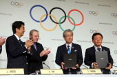 President of the IOC Jacques Rogge Prime Minister of Japan Shinzo Abe President of the Tokyo 2020 Committee Tsunekazu Takeda and Governor of Tokyo...