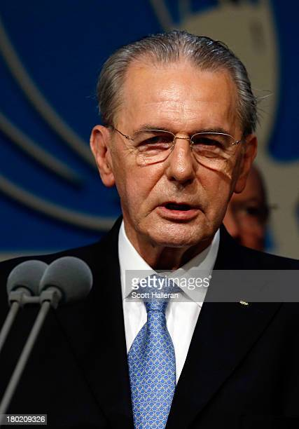 President of the IOC Jacques Rogge speaks during the 125th IOC Session IOC Presidential Election at the Hilton Hotel on on September 10 2013 in...