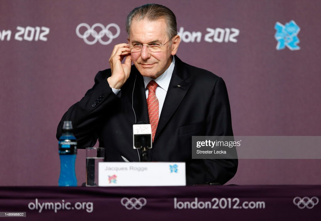 President of the IOC <a gi-track='captionPersonalityLinkClicked' href=/galleries/search?phrase=Jacques+Rogge&family=editorial&specificpeople=206143 ng-click='$event.stopPropagation()'>Jacques Rogge</a> speaks to the media during a press conference at Olympic Park on July 21, 2012 in London, England.