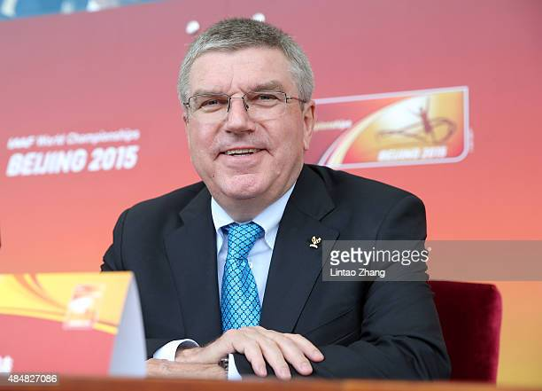 President of the IOC Thomas Bach looks on during the Opening Ceremony for the 15th IAAF World Athletics Championships Beijing 2015 at Beijing...