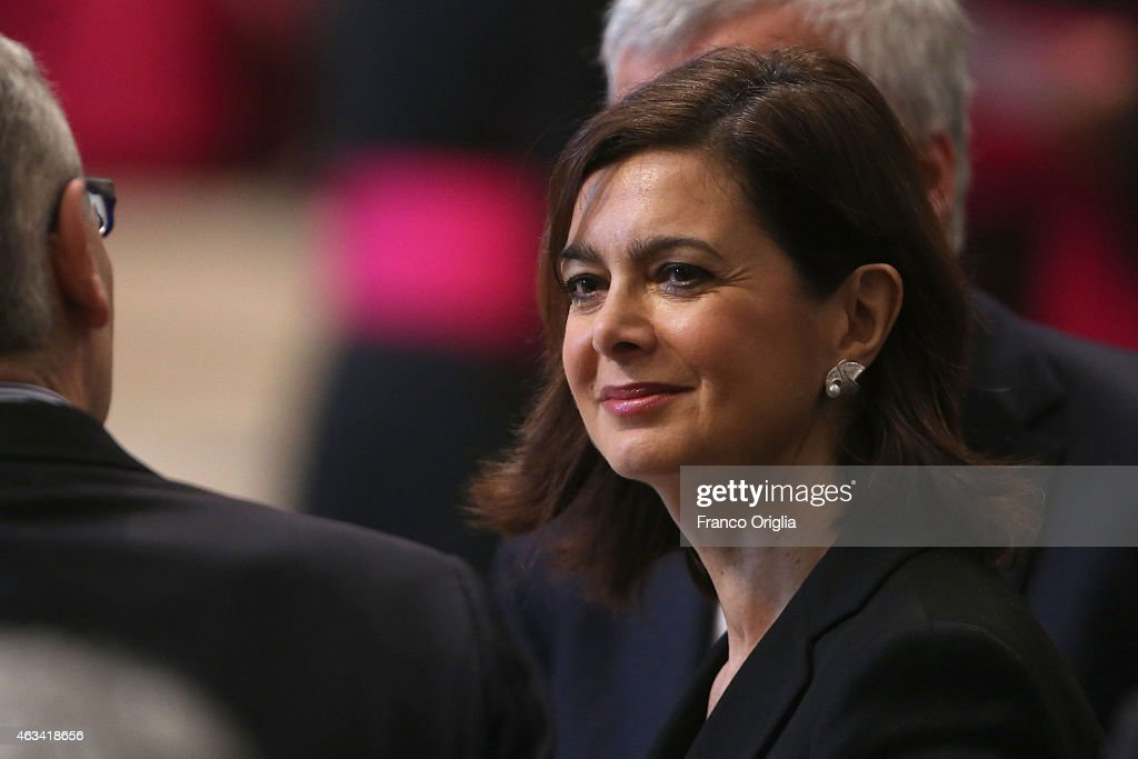 President of the Italian Chamber of Deputies <a gi-track='captionPersonalityLinkClicked' href=/galleries/search?phrase=Laura+Boldrini&family=editorial&specificpeople=4364882 ng-click='$event.stopPropagation()'>Laura Boldrini</a> attends the Ordinary Public Consistory at St. Peter's Basilica on February 14, 2015 in Vatican City, Vatican. In addition to 15 new electors, Pope Francis named five new cardinals who are over the age of 80 and, therefore, ineligible to vote in a conclave.