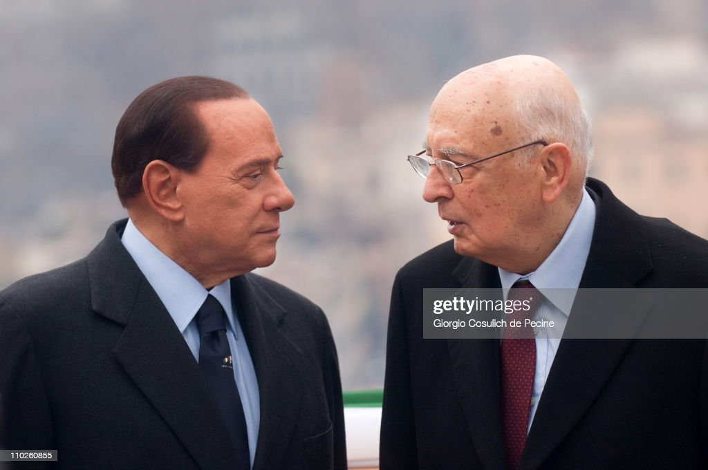 President of the Italian Republic <a gi-track='captionPersonalityLinkClicked' href=/galleries/search?phrase=Giorgio+Napolitano&family=editorial&specificpeople=568986 ng-click='$event.stopPropagation()'>Giorgio Napolitano</a> (R) and Prime Minister <a gi-track='captionPersonalityLinkClicked' href=/galleries/search?phrase=Silvio+Berlusconi&family=editorial&specificpeople=201842 ng-click='$event.stopPropagation()'>Silvio Berlusconi</a> attend a ceremony to mark the 150th anniversary of Italy's unification at the Gianicolo on March 17, 2011 in Rome, Italy. Events to celebrate the 150th anniversary of Italy's unification are planned in various cities across Italy until the end of the year.