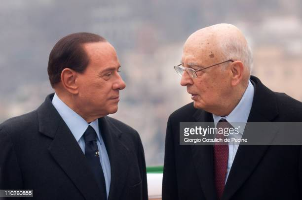 President of the Italian Republic Giorgio Napolitano and Prime Minister Silvio Berlusconi attend a ceremony to mark the 150th anniversary of Italy's...