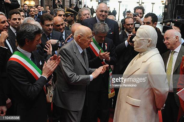 President of the Italian Republic Giorgio Napolitano inaugurates the statue of Camillo Benso Conte di Cavour during ceremony to mark the 150th...