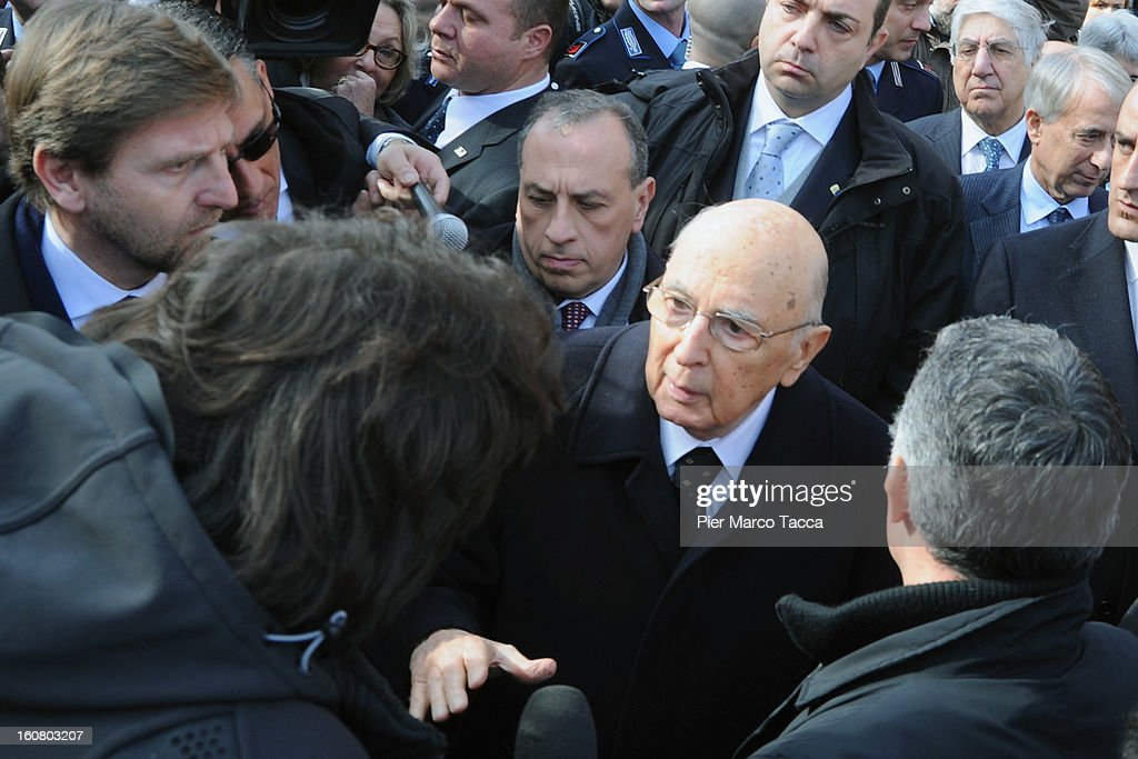 President of the Italian Republic Giorgio Napolitano leaves San Vittore prison following a visit, on February 6, 2013 in Milan, Italy. This is the first time an Italian President has visited the jail of San Vittore. The President has spoken about the problem of overcrowding in Italian jails.