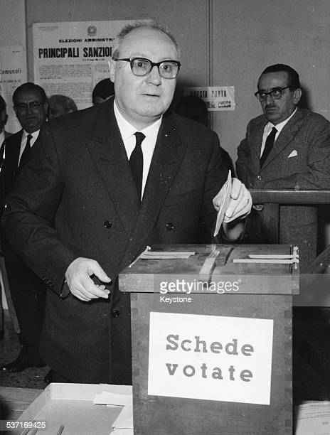 President of the Italian Republic Giuseppe Saragat posting his vote in to a ballot box during elections Rome June 10th 1962