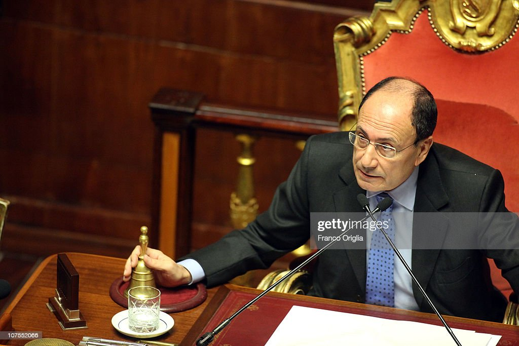President of the Italian Senate <a gi-track='captionPersonalityLinkClicked' href=/galleries/search?phrase=Renato+Schifani&family=editorial&specificpeople=4851265 ng-click='$event.stopPropagation()'>Renato Schifani</a> attends a debate at the Senate on December 13, 2010 in Rome, Italy. Italian Prime Minister Silvio Berlusconi is facing a vote of no confidence from both the Senate and the Lower House.