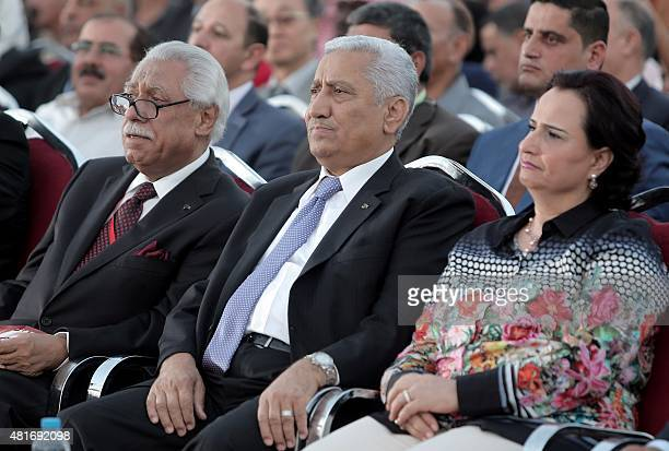 President of the Jerash Festival's higher committee Aqel Biltaji Jordan's Prime Minister Abdullah Nsur and his wife attend the opening of the 30th...