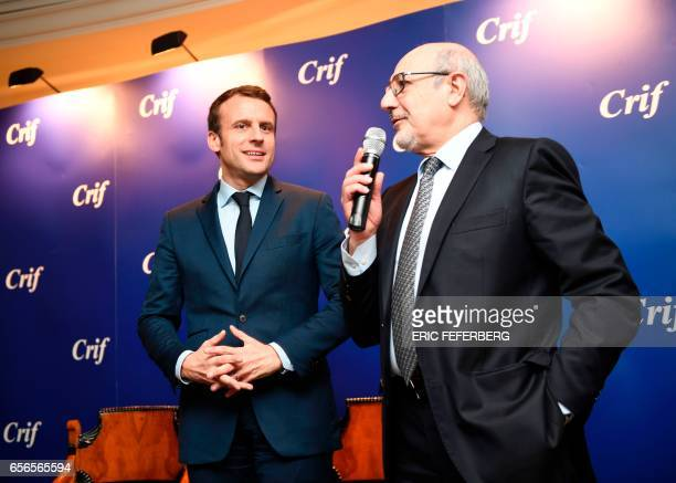 President of the Jewish Institutions Representative Council Francis Kalifat speaks as French presidential candidate for the 'En Marche' movement...