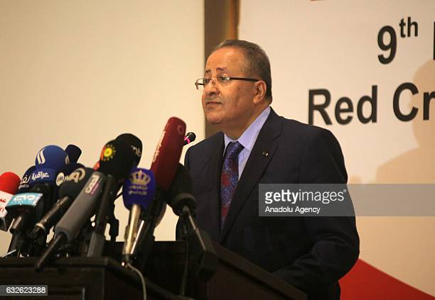 President of the Jordanian Red Crescent Mohammad AlHadid delivers a speech during the 9th Executive committee of the International Red Cross and Red...