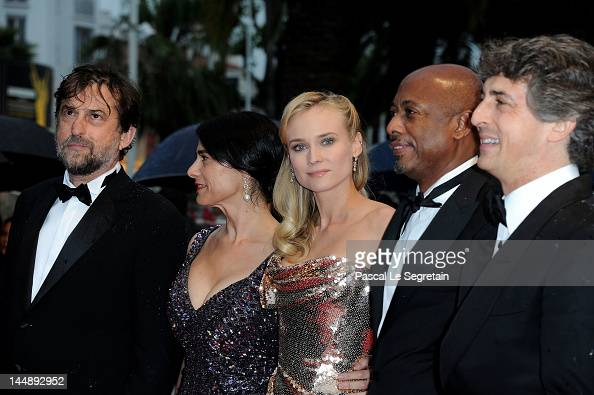 President of the Jury Nanni Nanni Moretti jury members Diane Kruger Hiam Abbass Raoul Peck and Alexander Payne attends the 'Amour' premiere during...