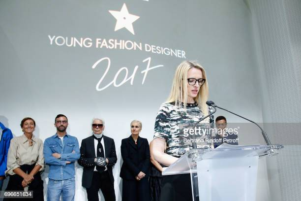 President of the Jury of the Prize Louis Vuitton's executive vice president Delphine Arnault presents the 'Young Fashion Designer' LVMH Prize 2017...