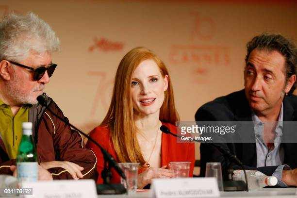 President of the jury Pedro Almodovar and jury members Jessica Chastain and Paolo Sorrentino attend the Jury press conference during the 70th annual...